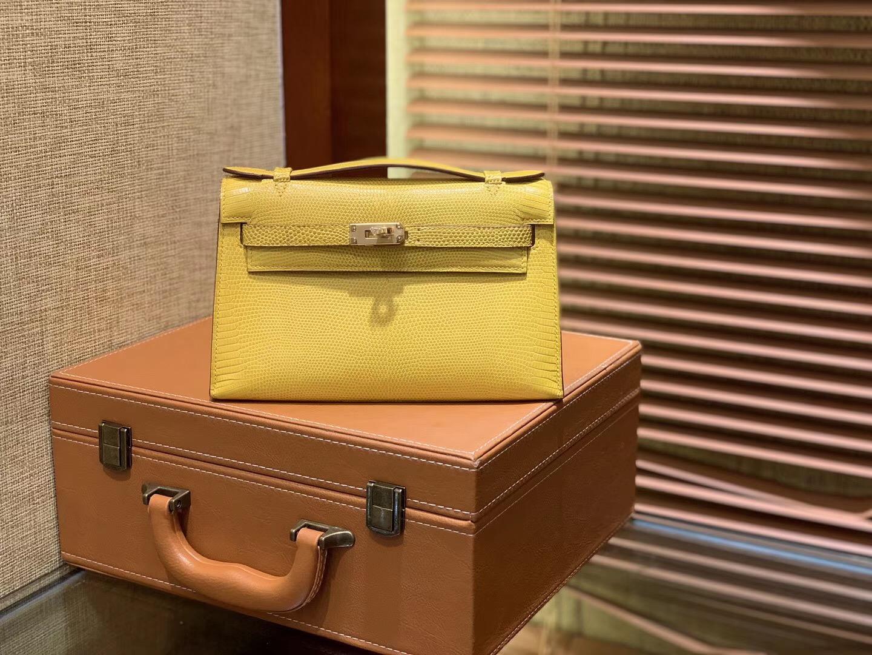 Hermes MiniKelly 1代 手拿包 蜥蜴皮 柠檬黄 全手工缝制 22cm