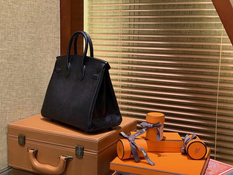 Birkin 铂金包 25CM 经典黑色 银扣 蜥蜴皮 全手工缝制