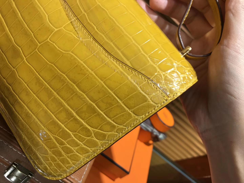 Constance 空姐包 18CM 琥珀黄 尼罗鳄 原版蜜蜡线 全手工缝制