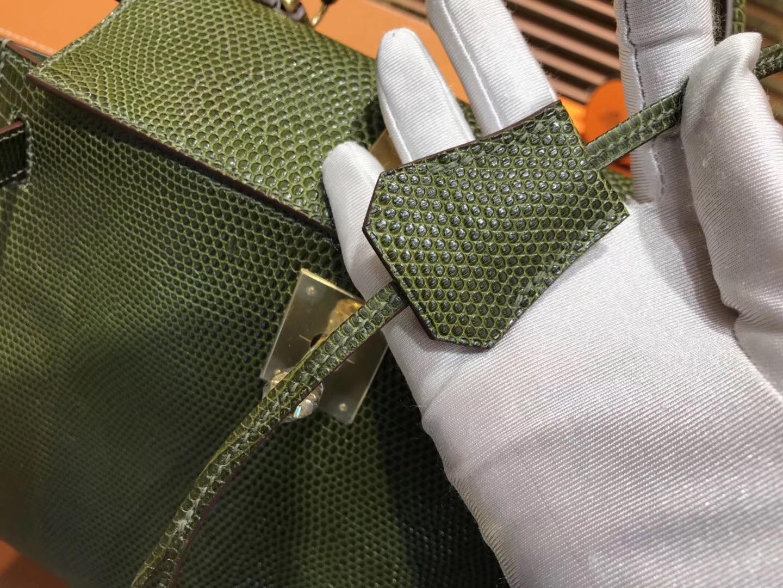 Hermes Kelly 28CM 橄榄绿 蜥蜴皮 全手工缝制 手提包