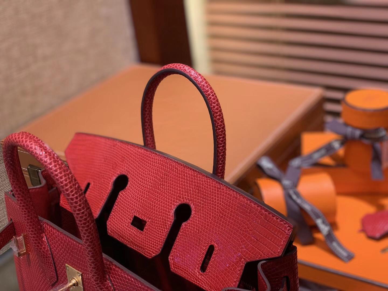 Birkin 铂金包 25CM Q5国旗红 金扣 蜥蜴皮 全手工缝制