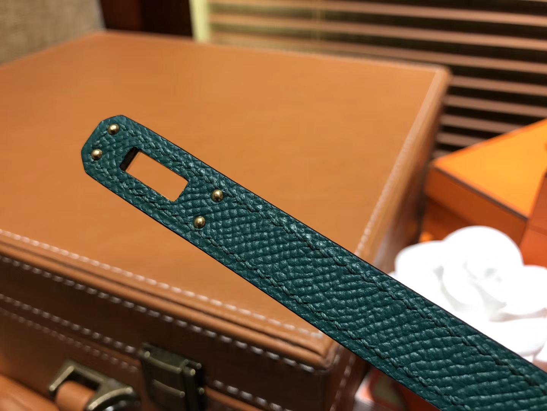 Hermès(爱马仕)Birkin 25cm ( 铂金包) 掌纹牛皮 孔雀绿 原版蜜蜡线 全手工缝制