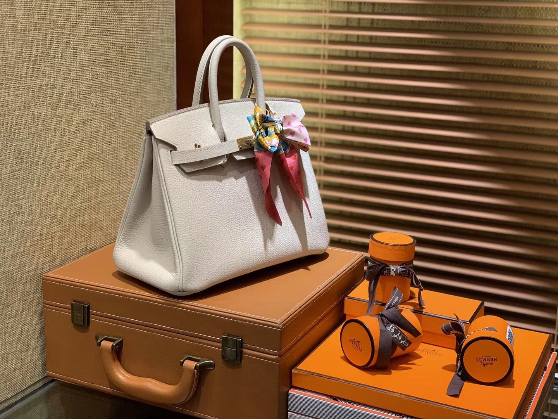 Hermès(爱马仕)Birkin 25cm ( 铂金包) Togo小牛皮 奶昔白 原版蜜蜡线 全手工缝制