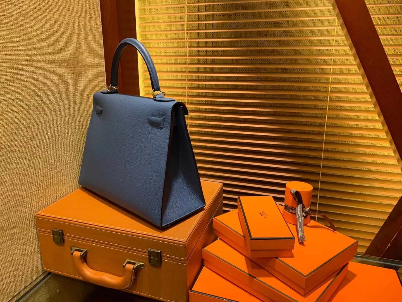 Hermès(爱马仕)Kelly 28(凯莉包) 玛瑙蓝 德国进口 掌纹牛皮 原版蜜蜡线 全手工缝制