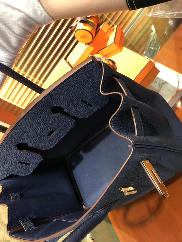 Hermès(爱马仕)Birkin 30cm ( 铂金包) Togo小牛皮 午夜蓝 原版蜜蜡线 全手工缝制