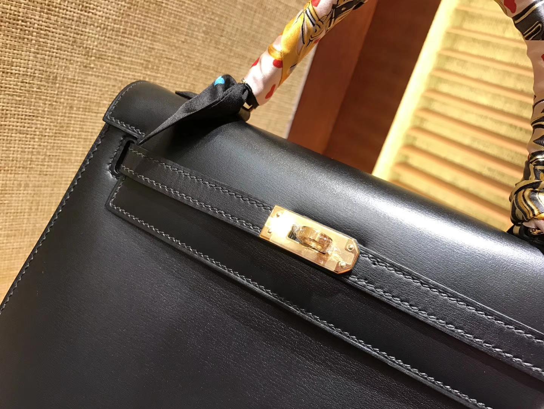 Hermès(爱马仕)Kelly 25 28(凯莉包)黑色 德国进口 box牛皮 原版蜜蜡线 全手工缝制