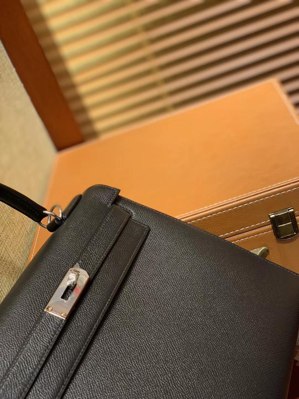 Hermès(爱马仕)Kelly 28(凯莉包) 黑银 德国进口 掌纹牛皮 原版蜜蜡线 全手工缝制