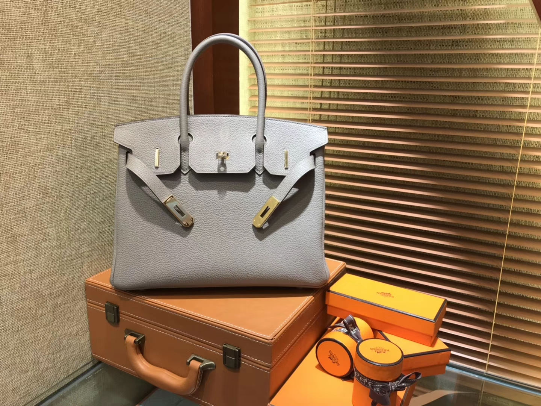 Hermès(爱马仕)Birkin 30cm ( 铂金包) Togo小牛皮 银河灰 原版蜜蜡线 全手工缝制
