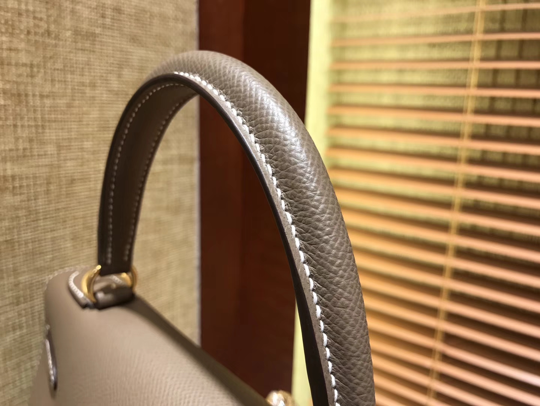 Hermès(爱马仕)Kelly 28(凯莉包) 大象灰 德国进口 掌纹牛皮 原版蜜蜡线 全手工缝制