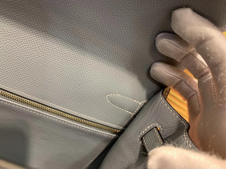 Hermès(爱马仕)Kelly 32(凯莉包) 亚麻蓝 德国进口 掌纹牛皮 原版蜜蜡线 全手工缝制