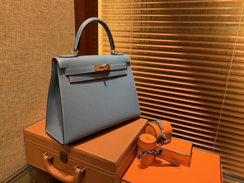 Hermès(爱马仕)Kelly 28(凯莉包) 牛仔蓝 德国进口 掌纹牛皮 原版蜜蜡线 全手工缝制