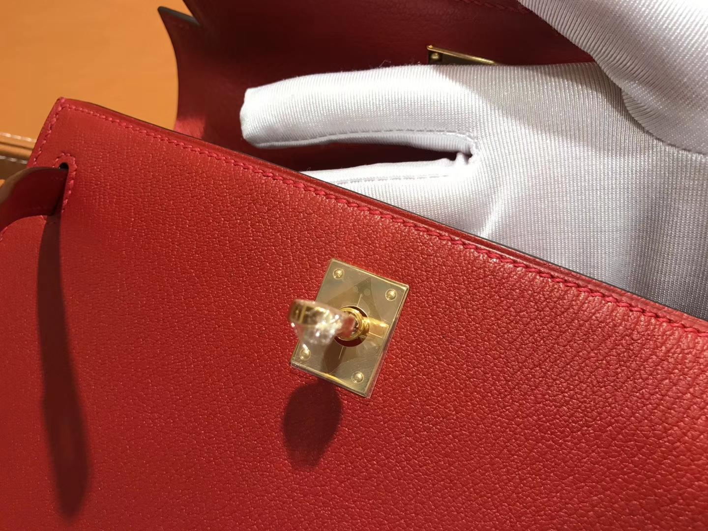 Hermès(爱马仕)Kelly 25(凯莉包) 蕃茄红 德国进口 掌纹牛皮 原版蜜蜡线 全手工缝制