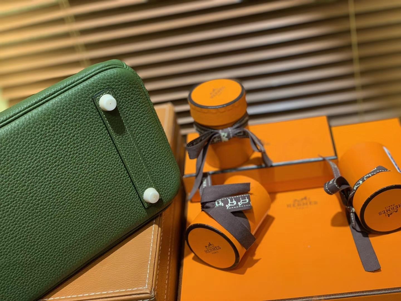 Hermès(爱马仕)Birkin 25cm ( 铂金包) Togo小牛皮 丛林绿 原版蜜蜡线 全手工缝制