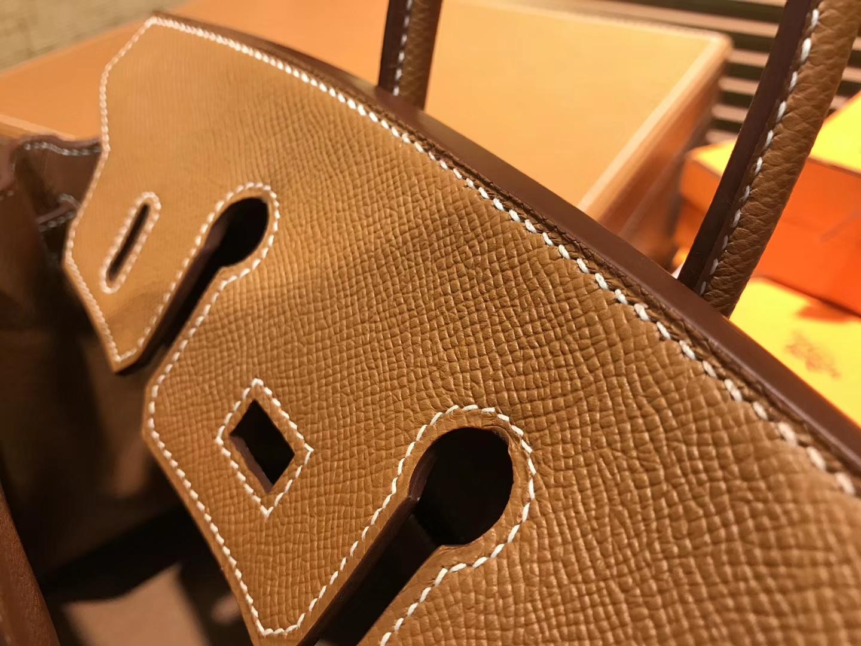 Hermès(爱马仕)Birkin 25cm ( 铂金包) 掌纹牛皮 金棕色 原版蜜蜡线 全手工缝制