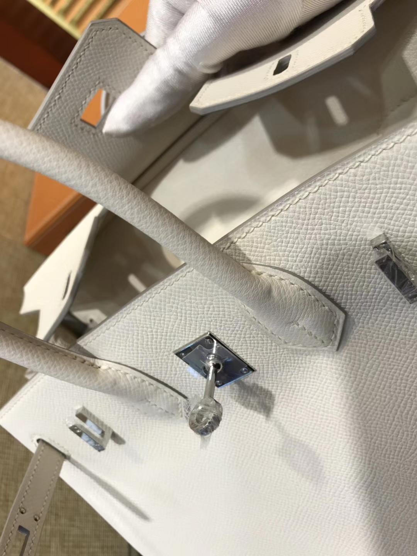 Hermès(爱马仕)Birkin 25cm ( 铂金包) 掌纹牛皮 奶昔白 原版蜜蜡线 全手工缝制