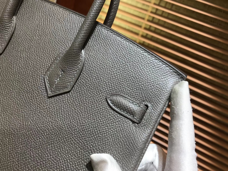 Hermès(爱马仕)Birkin 25cm ( 铂金包) 掌纹牛皮 锡器灰 原版蜜蜡线 全手工缝制