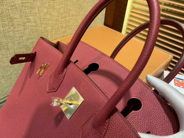 Hermès(爱马仕)Birkin 30cm ( 铂金包) Togo小牛皮 石榴红 原版蜜蜡线 全手工缝制