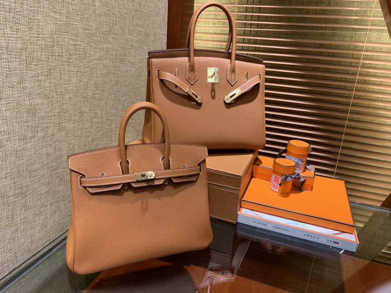 Hermès(爱马仕)Birkin 30cm ( 铂金包) Togo小牛皮 金棕 原版蜜蜡线 全手工缝制