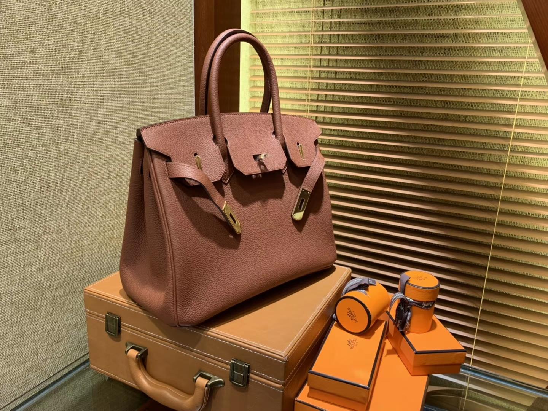 Hermès(爱马仕)Birkin 30cm ( 铂金包) Togo小牛皮 古铜色 原版蜜蜡线 全手工缝制