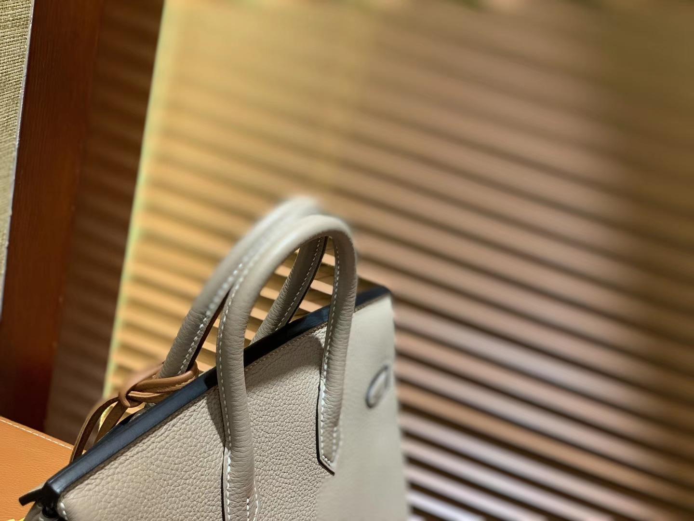 Hermès(爱马仕)Birkin 25cm ( 铂金包) Togo小牛皮 斑鸠灰 原版蜜蜡线 全手工缝制