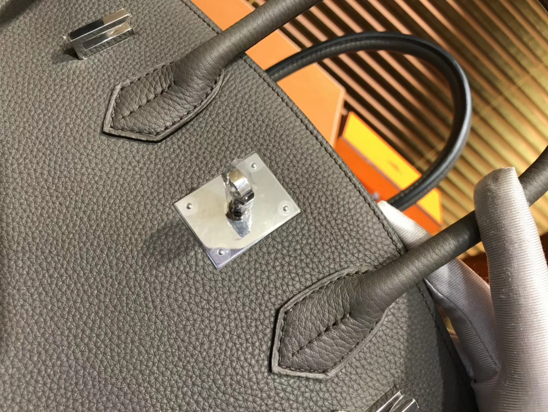 Hermès(爱马仕)Birkin 30cm ( 铂金包) Togo小牛皮 锡器灰 原版蜜蜡线 全手工缝制