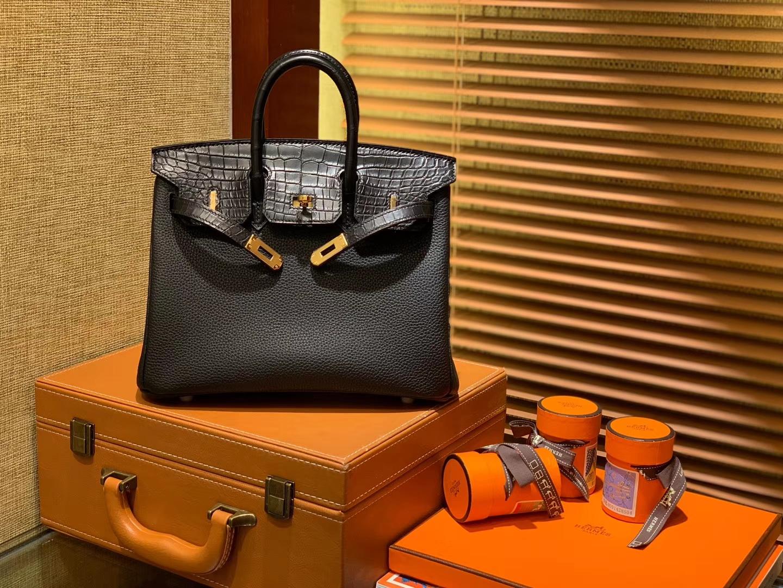 Hermès(爱马仕)Birkin 25cm ( 铂金包) Togo小牛皮 拼鳄鱼皮 经典黑 原版蜜蜡线 全手工缝制