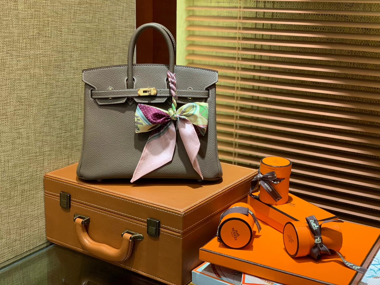 Hermès(爱马仕)Birkin 25cm ( 铂金包) Togo小牛皮 大象灰 原版蜜蜡线 全手工缝制