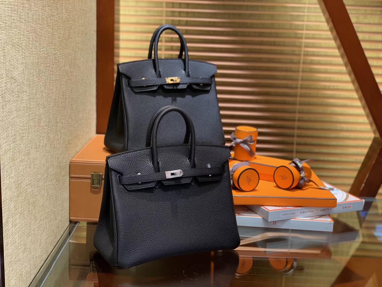 Hermès(爱马仕)Birkin 25cm ( 铂金包) Togo小牛皮 经典黑金 原版蜜蜡线 全手工缝制