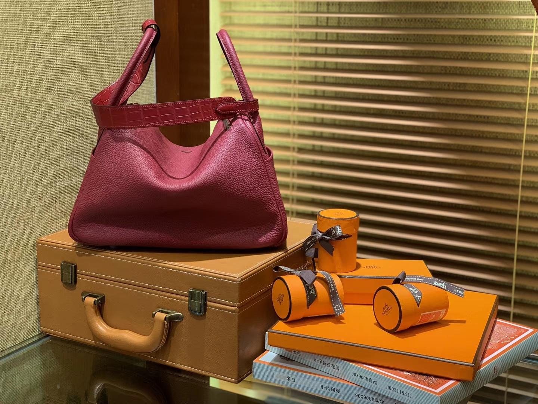 Hermès(爱马仕)Lindy琳迪包 石榴红 小牛皮拼鳄鱼皮 进口原料 全手工缝制 银扣 26cm