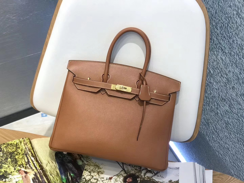 Hermès(爱马仕)Birkin 铂金包 经典 金棕色 原厂御用swift皮 金扣 35cm