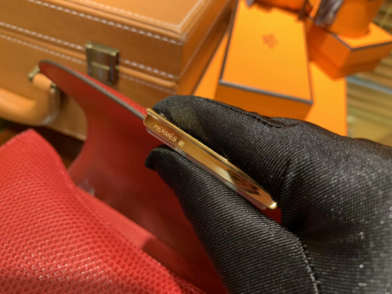 Hermès(爱马仕)Constance 23cm 番茄红 蜥蜴皮 顶级手缝工艺 金扣