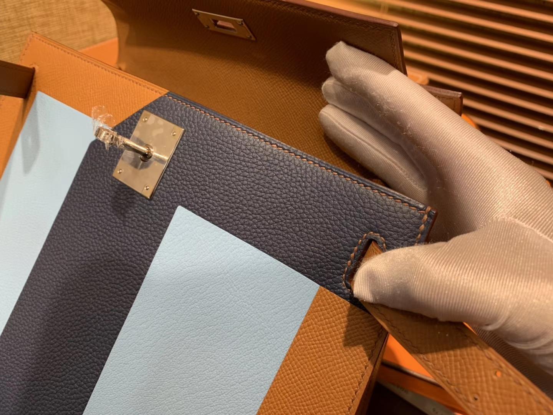 Hermès(爱马仕)Kelly凯莉包 掌纹小牛皮 字母包 金棕色+浅蓝色+啡色 进口原料 原版蜜蜡线 28cm
