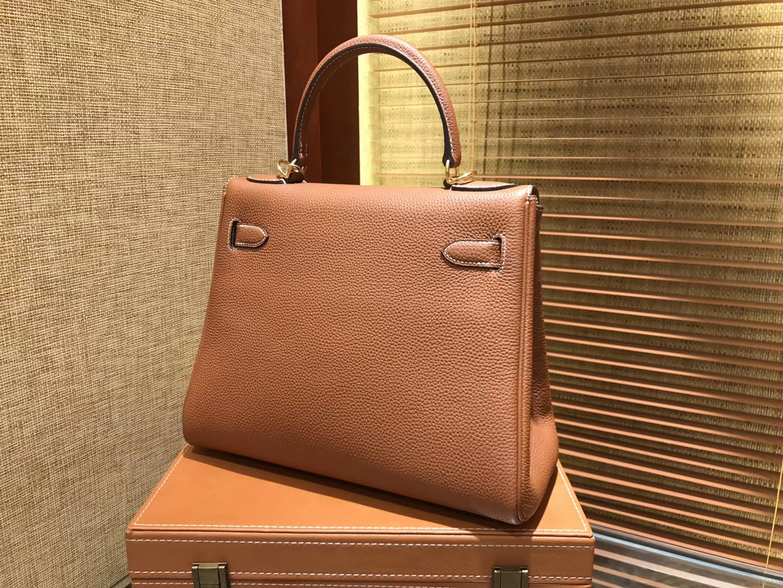 Hermès(爱马仕)Kelly凯莉包 togo小牛皮 金棕色 进口原料 原版蜜蜡线 金扣 28cm