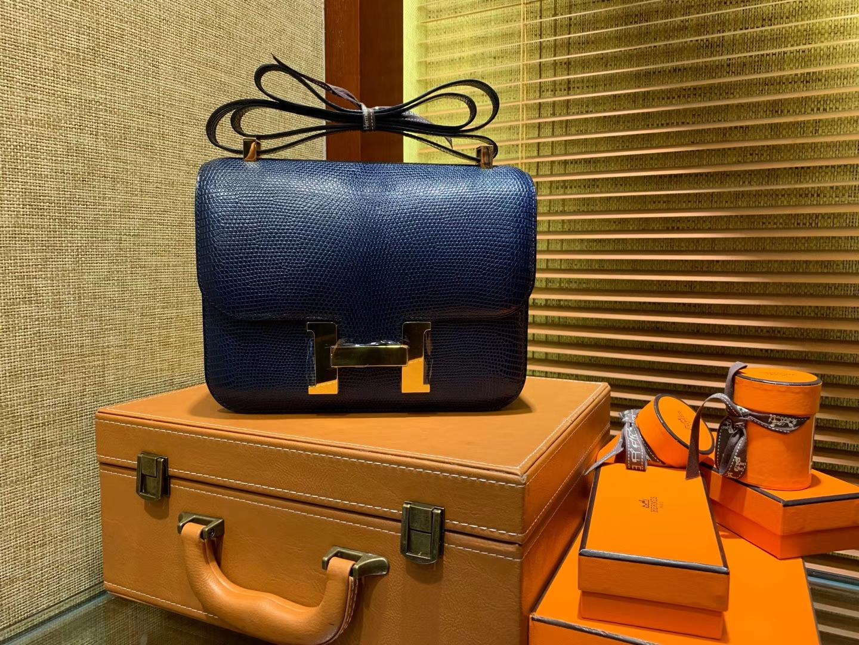 Hermès(爱马仕)Constance 23cm 午夜蓝 蜥蜴皮 顶级手缝工艺 金扣