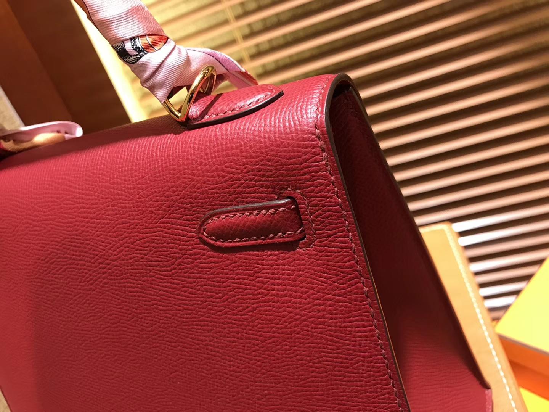 Hermès(爱马仕)Kelly凯莉包 掌纹小牛皮 石榴红 进口原料 原版蜜蜡线 顶级工艺 金扣 25cm