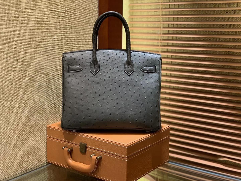 Hermès(爱马仕)Birkin 30cm 松柏绿 南非进口鸵鸟皮 顶级手缝工艺 金扣