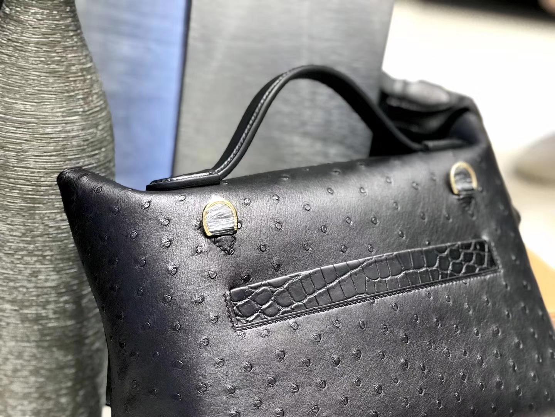 Hermès(爱马仕)2424 凯莉铂金包 经典黑 鸵鸟纹拼鳄鱼皮 金扣 现货