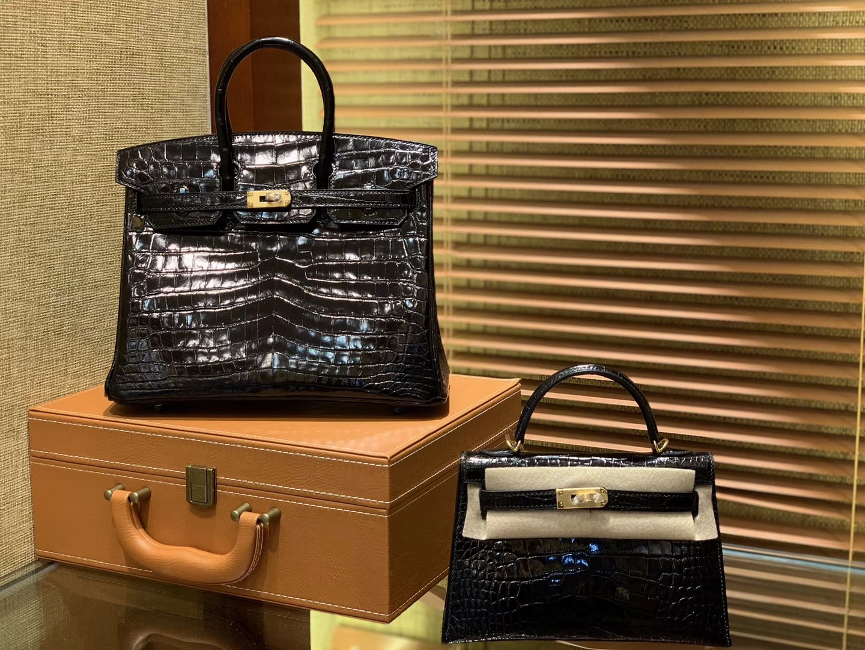Hermès(爱马仕)Birkin 25cm 2代19cm 黑色 美洲 尼罗 鳄鱼皮
