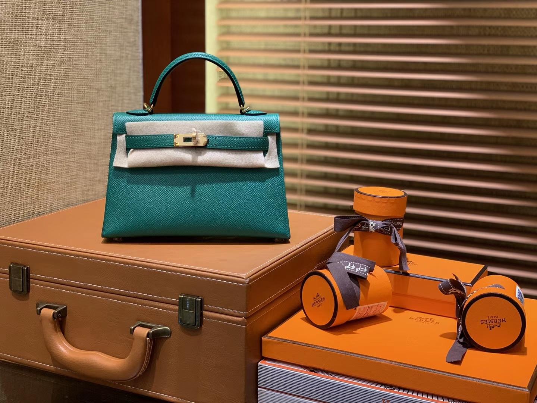 Hermès(爱马仕)MiniKelly 迷你凯莉 U4丝绒绿 德国掌纹牛皮 原版蜜蜡 全手工缝制 2代 19cm