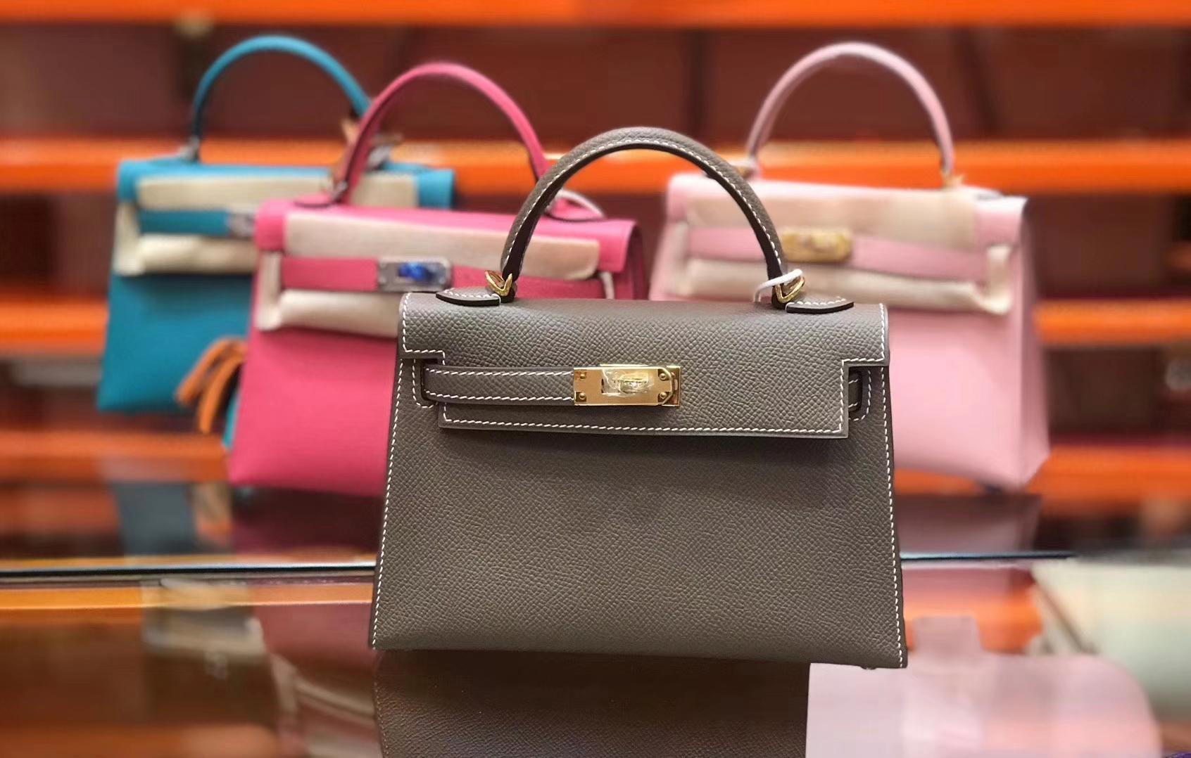 Hermès(爱马仕)Birkin铂金包 mini kelly 大象灰 进口掌纹小牛皮 金扣 顶级手工缝制 19cm