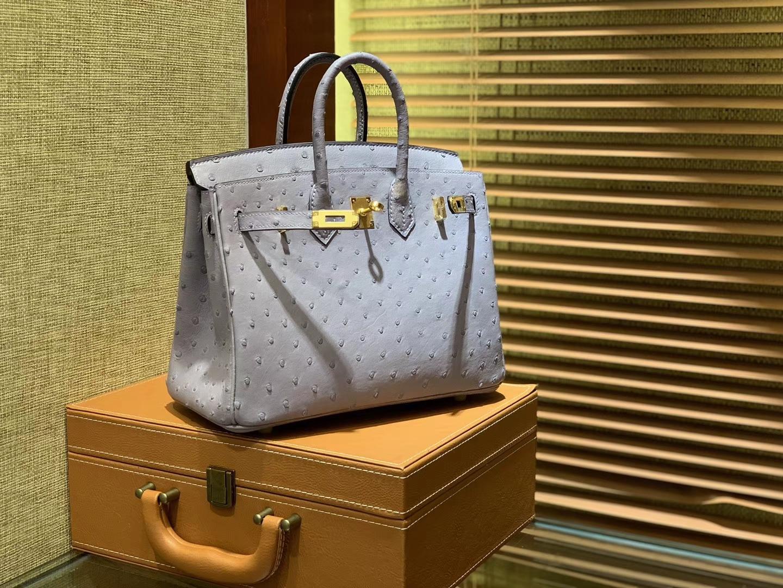 Hermès(爱马仕)Birkin 25cm 浅蓝紫 南非进口鸵鸟皮 顶级手缝工艺 金扣