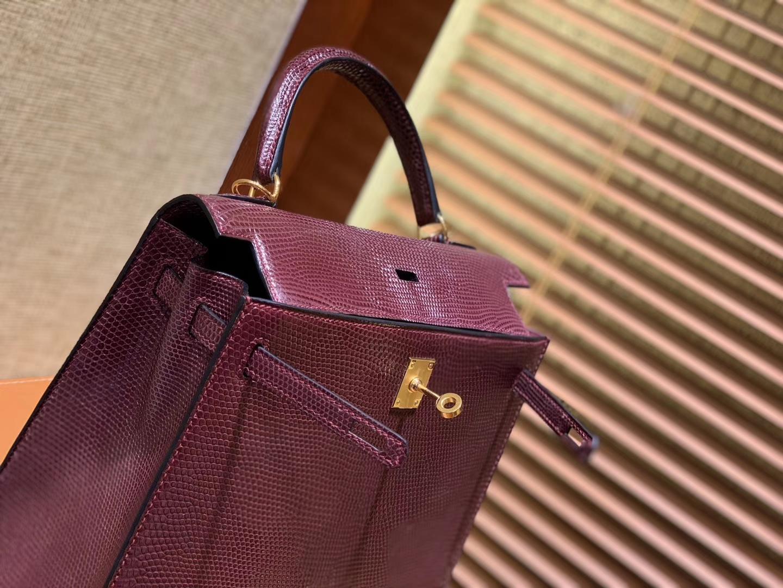 Hermès(爱马仕)Kelly 25cm 波尔多酒红 野生蜥蜴皮 巨蜥 顶级手工缝制 金扣