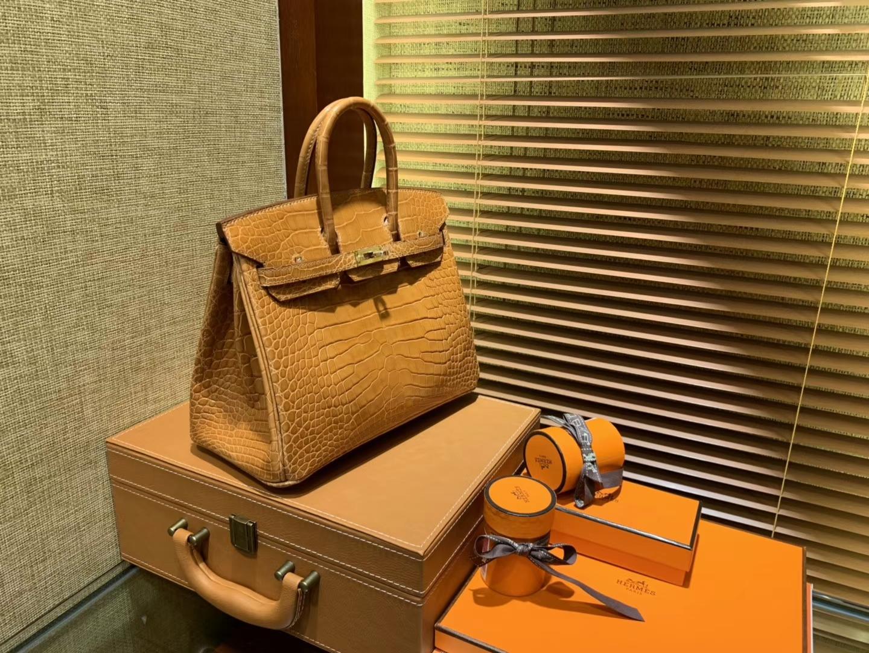 Hermès(爱马仕)Birkin铂金包 太妃金 一级皮 尼罗鳄鱼 进口原料 顶级手缝工艺 25cm