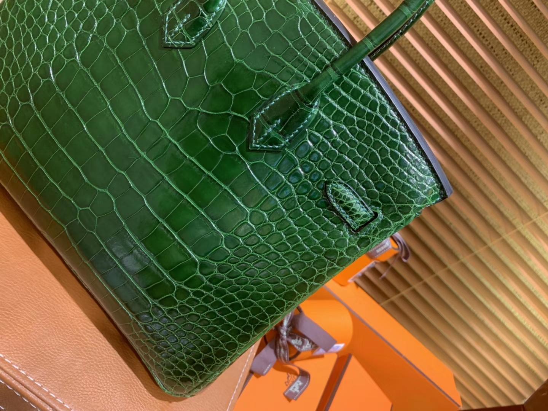 Hermès(爱马仕)Birkin铂金包 祖母绿 一级皮 美洲鳄鱼 进口原料 顶级手缝工艺 25cm