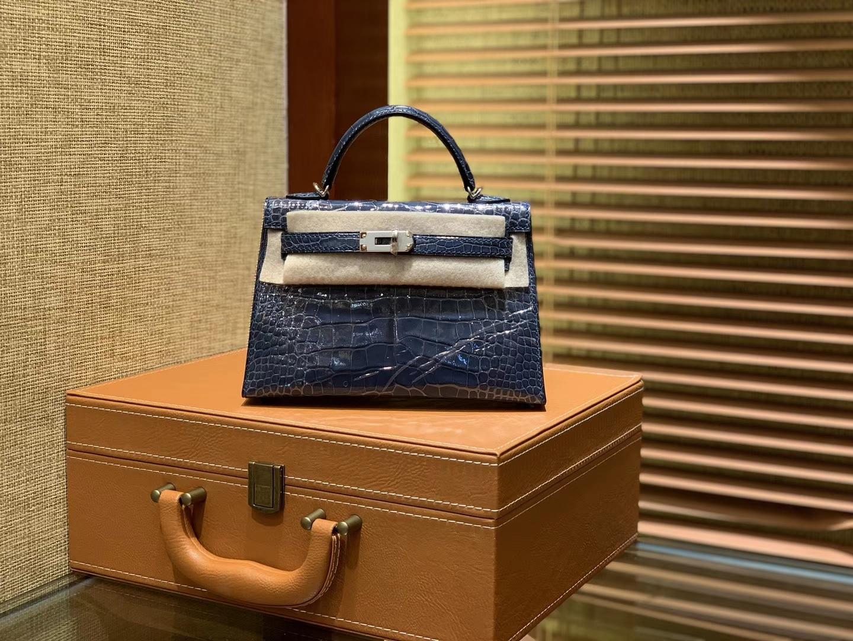 Hermès(爱马仕)迷你2代 19cm 牛仔蓝 一级美洲 鳄鱼皮 顶级手工 银扣