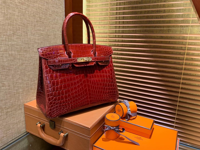 Hermès(爱马仕)Birkin铂金包 板栗棕 一级皮 尼罗鳄鱼 进口原料 顶级手缝工艺 30cm