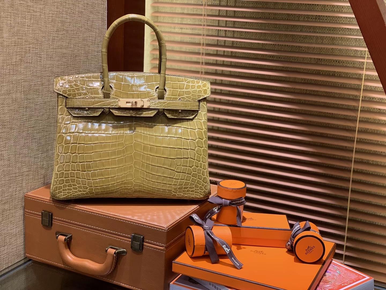 Hermès(爱马仕)Birkin铂金包 褐绿色 一级皮 尼罗鳄鱼 进口原料 顶级手缝工艺 30cm