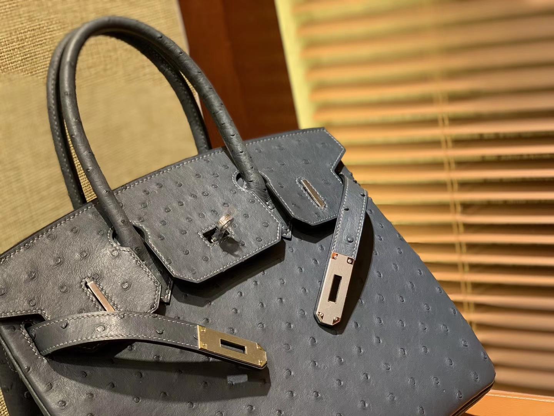Hermès(爱马仕)Birkin铂金包 灰色 南非进口鸵鸟皮 KK级别 匠心打造 30cm