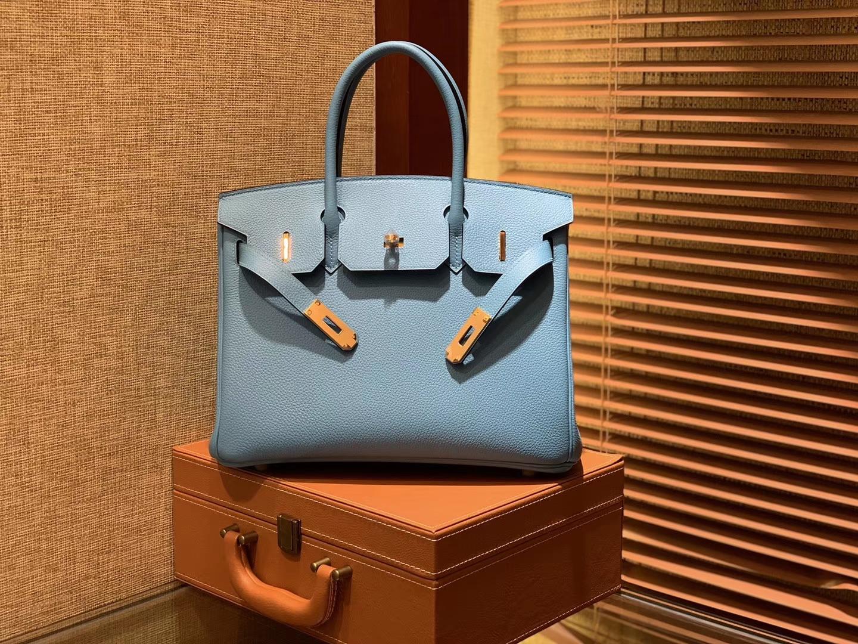 Hermès(爱马仕)Birkin铂金包 北方蓝 德国小牛皮 进口原料 顶级手工缝制 金扣 30cm