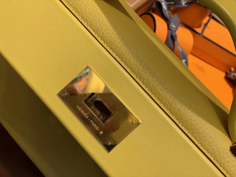 Hermès(爱马仕)Kelly-2424 黄色 原厂御用顶级小牛皮拼Swift皮 togo 金扣 29cm